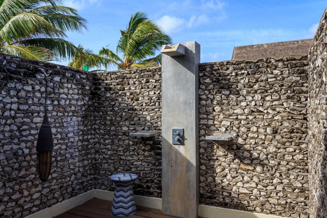 outside shower at Four Seasons Landaa Giraavaru