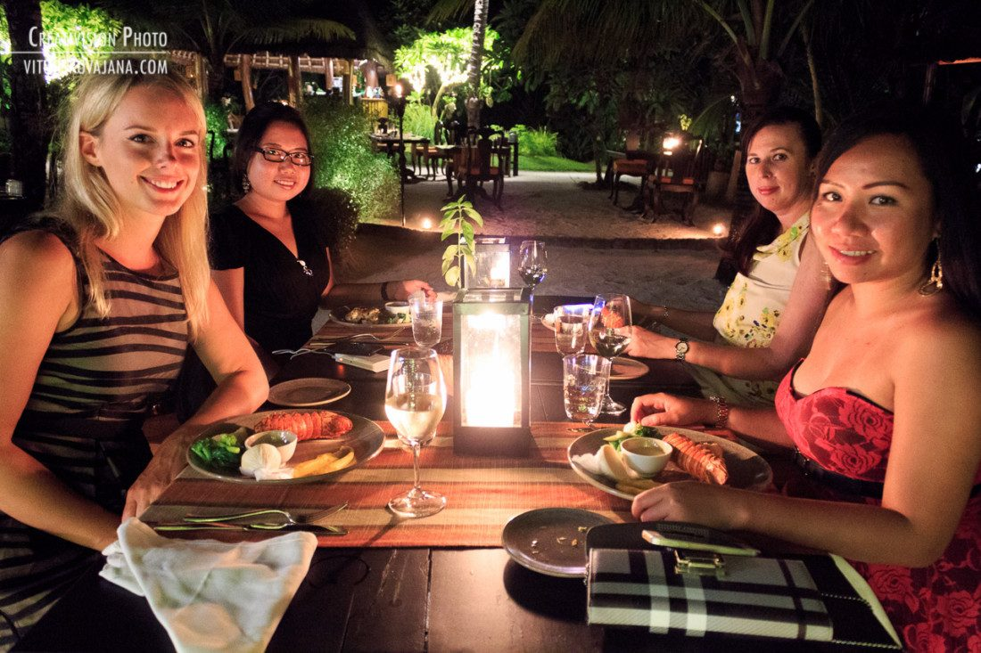 Dinner at Chef's garden at One & Only Reethi Rah