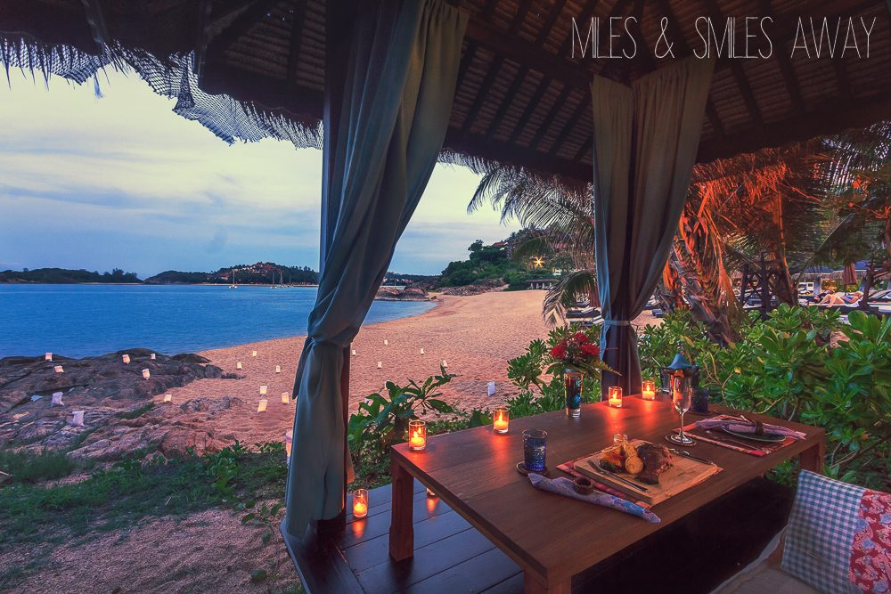 romantic dinner at the beach in Tongsai Bay