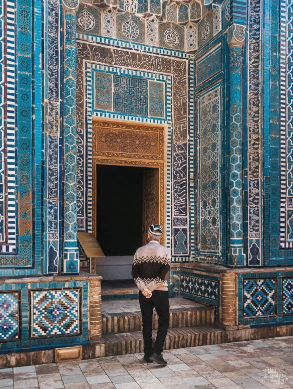 Man walking into a tomb in Samarkand in Uzbekistan